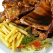 Spareribs and Fries on White Plate Close Up — Stock Photo #18867429