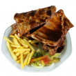 Spareribs and Fries on White Plate — Stock Photo #18867541