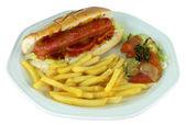 Hot Dog y papas fritas en placa — Foto de Stock