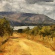 Gravel Road Leading to Dam Oil Painting — Stock Photo