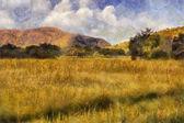 Obraz olejny malownicze łąki — Zdjęcie stockowe
