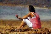 Pink lady con rosa su pastelli spiaggia — Foto Stock