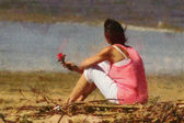 Pink Lady with Rose on Beach Painting — Stock Photo