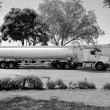 Stock Photo: Black and White Petrol Tanker