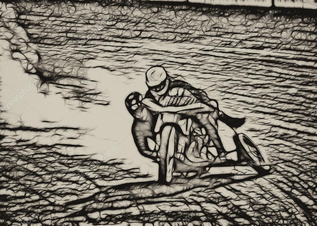 棕褐色抽象污垢轨道边车摩托车赛车手 - 图库图片