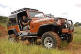 Crush Beige Jeep Wrangler Off-Roader V8 — Stock Photo