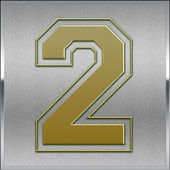 Gold on Silver Number 2 Position, Place Sign — Stock Photo