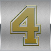 Gold on Silver Number 4 Position, Place Sign — Stock Photo