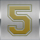 Gold on Silver Number 5 Position, Place Sign — Stock Photo