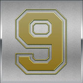 Gold on Silver Number 9 Position, Place Sign — Stock Photo