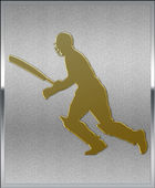 Gold on Silver Cricket Batsman Running Sport Emblem — Stock Photo