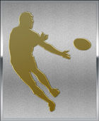 Gold on Silver Rugby Sport Emblem — Stock Photo