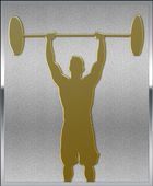 Gold on Silver Weightlifting Sport Emblem — Zdjęcie stockowe