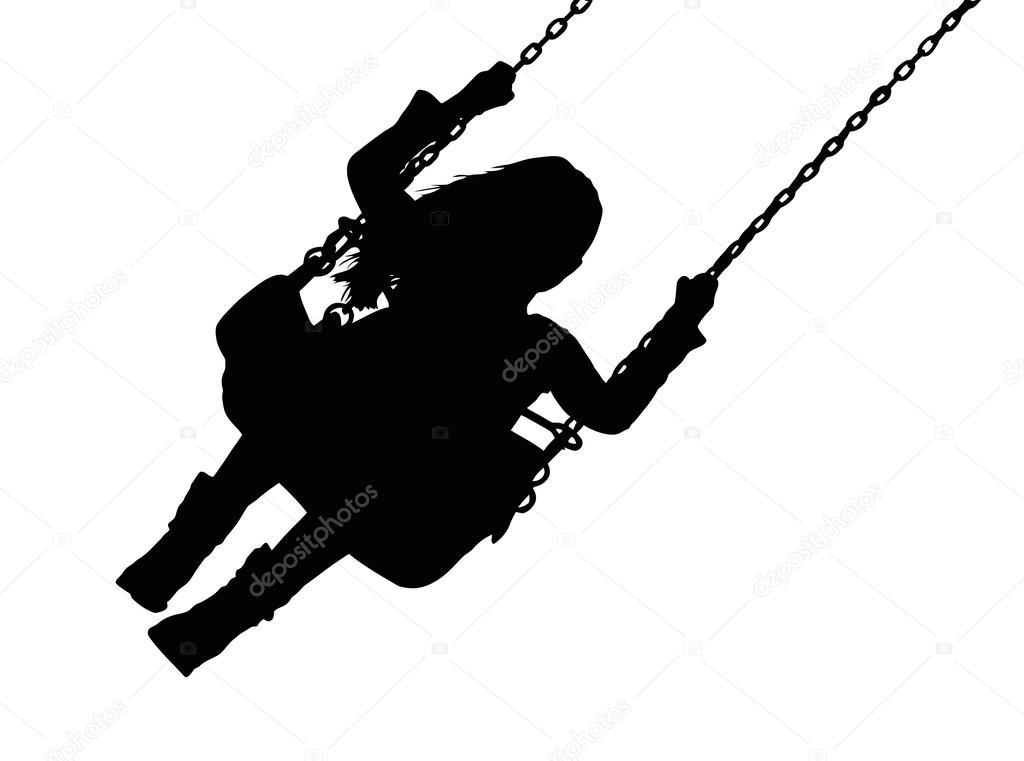 silhouette de petite fille sur la balanoire de parc dattractions illustration