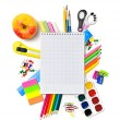 School stationery with notebook copyspace — Stock Photo