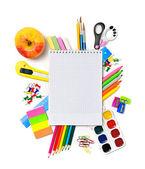 School stationery with notebook copyspace — Foto de Stock