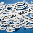 Social media concept torn newspaper headlines — Stockfoto