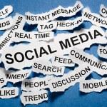 Social media concept torn newspaper headlines — Foto Stock