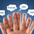 Happy group of finger smileys with social chat sign and speech b — Stok fotoğraf