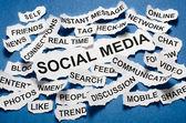 Social media concept torn newspaper headlines — Stock Photo