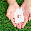 Hand hold house against green field — Stock Photo #50286425