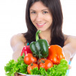 Foto Stock: Womwith plate of fresh healthy vegetarivegetables salad