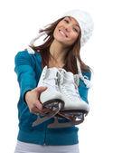 Güzel kadın buz pateni kış spor aktivitesi — Stok fotoğraf
