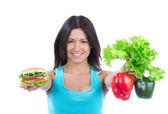 Woman with sandwich peppers salad — Stock Photo