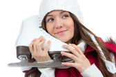 Woman with ice skates ice skating winter sport activity — Stock Photo