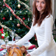 Family christmas dinner Roasted turkey — Stock Photo #13648757