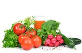 Fresh organic vegetables tomatoes, salad, radish — Stock Photo