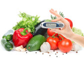 Diabetes concept glucometer for glucose level blood test — Stock Photo