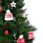 partie de l'arbre de Noël décoré avec ornement de patchwork — Photo #16538859