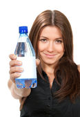 Woman showing drinking wate — Stock Photo
