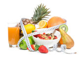 Diet weight loss breakfast concept with tape measure — Stock Photo