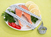 Diet weight loss concept. Fresh salmon steak — Stock Photo