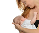 Young mother woman breastfeeding her child baby girl — Stock Photo
