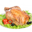 Garnished roasted thanksgiving chicken on a plate — Stock Photo
