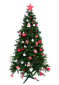 Christmas tree with Decorated ornament red star — Stock Photo