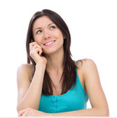 Happy woman calling on the mobile cell phone i — Stock Photo