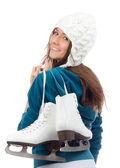 молодая женщина с коньки для зимних коньках спорта дезинфицирования — Стоковое фото
