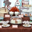 ������, ������: Fancy set table with sweets candies cake marshmallows zephyr