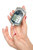 Diabetes measuring glucose level blood test with glucometer — Stock Photo