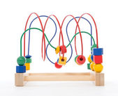 Baby child wooden educational toy with looped wires — Stock Photo