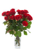 Bouquet of red roses in vase isolated — ストック写真