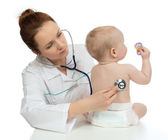 Doctor or nurse auscultating child baby patient heart with steth — Stock Photo