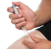 Diabetes injecting insulin dose of lantus vaccination — Stock Photo