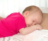 New born Infant child baby sleeping — Stock Photo