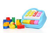 Child baby toys collage lego duck toy xylophone  — Stock Photo