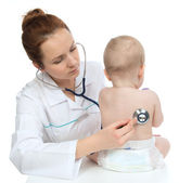Nurse auscultating child baby patient heart with stethoscope — Stock Photo